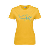 Ladies Gold T Shirt-Sigma Chi Sweetheart Script