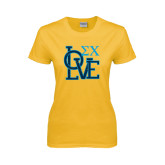 Ladies Gold T Shirt-Love Stacked