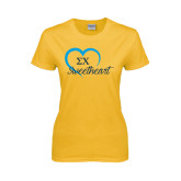 Ladies Gold T Shirt-Script Sweetheart w/ Heart