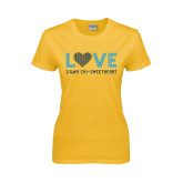 Ladies Gold T Shirt-Love Sigma Chi Sweetheart Lines