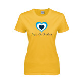 Ladies Gold T Shirt-Hearts Sigma Chi Sweetheart