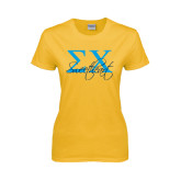 Ladies Gold T Shirt-Sweetheart Script w/ Greek Letters