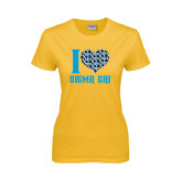 Ladies Gold T Shirt-I Heart Sigma Chi