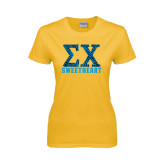 Ladies Gold T Shirt-Zebra Print Greek Letters Sweetheart