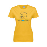 Ladies Gold T Shirt-Sigma Chi Sweetheart w/ Girl
