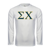 Syntrel Performance White Longsleeve Shirt-Sigma Chi Greek Letters