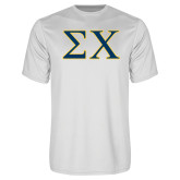 Syntrel Performance White Tee-Sigma Chi Greek Letters