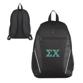 Atlas Black Computer Backpack-Sigma Chi Greek Letters