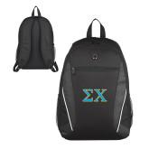 Atlas Black Computer Backpack-Sigma Chi Greek Letters