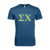 Next Level SoftStyle Indigo Blue T Shirt-Sigma Chi Greek Letters