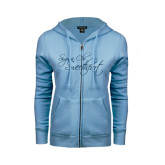 ENZA Ladies Light Blue Fleece Full Zip Hoodie-Sigma Chi Sweetheart Script