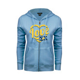 ENZA Ladies Light Blue Fleece Full Zip Hoodie-Love In Heart