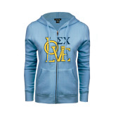 ENZA Ladies Light Blue Fleece Full Zip Hoodie-Love Stacked