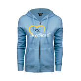ENZA Ladies Light Blue Fleece Full Zip Hoodie-Script Sweetheart w/ Heart