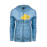 ENZA Ladies Light Blue Fleece Full Zip Hoodie-Sigma Chi Sweetheart w/ Double Hearts