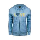 ENZA Ladies Light Blue Fleece Full Zip Hoodie-Love Sigma Chi Sweetheart Lines