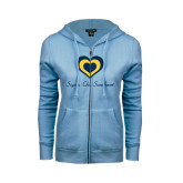 ENZA Ladies Light Blue Fleece Full Zip Hoodie-Hearts Sigma Chi Sweetheart