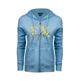 ENZA Ladies Light Blue Fleece Full Zip Hoodie-Sweetheart Script w/ Greek Letters