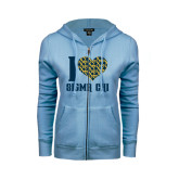 ENZA Ladies Light Blue Fleece Full Zip Hoodie-I Heart Sigma Chi