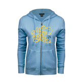 ENZA Ladies Light Blue Fleece Full Zip Hoodie-All You Need Is Love