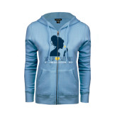 ENZA Ladies Light Blue Fleece Full Zip Hoodie-Sigma Chi Sweetheart - Girl w/ Flower