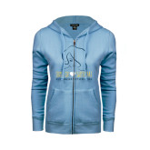 ENZA Ladies Light Blue Fleece Full Zip Hoodie-Sigma Chi Sweetheart w/ Girl