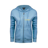 ENZA Ladies Light Blue Fleece Full Zip Hoodie-Sigma Chi Rhinestones Sweetheart