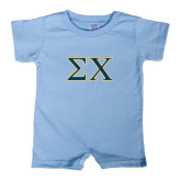 Light Blue Infant Romper-Sigma Chi Greek Letters
