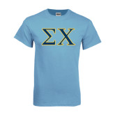 Light Blue T-Shirt-Sigma Chi Greek Letters