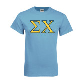 Light Blue T Shirt-Sigma Chi Greek Letters