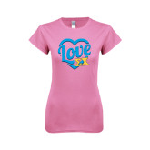 Next Level Ladies SoftStyle Junior Fitted Pink Tee-Love In Heart