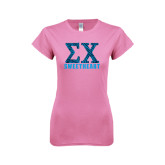 Next Level Ladies SoftStyle Junior Fitted Pink Tee-Zebra Print Greek Letters Sweetheart