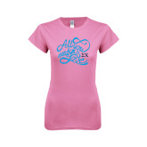 Next Level Ladies SoftStyle Junior Fitted Pink Tee-All You Need Is Love