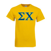 Gold T Shirt-Sigma Chi Greek Letters