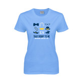 Ladies Sky Blue T Shirt-Talk Derby To Me Icons Version, Personalized