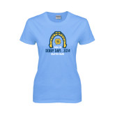 Ladies Sky Blue T-Shirt-Derby Days Horse Shoe, Personalized