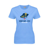 Ladies Sky Blue T-Shirt-Derby Days Hat & Glasses, Personalized