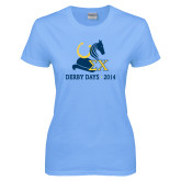 Ladies Sky Blue T Shirt-Derby Days Hat Horse Shoe & Horse Head, Personalized