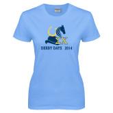 Ladies Sky Blue T Shirt-Derby Days Hat Horse Shoe & Horse Head, Personalized