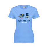 Ladies Sky Blue T Shirt-Derby Days Man & Women w/Hats, Personalized