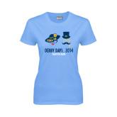 Ladies Sky Blue T Shirt-Derby Days Man & Women w/Hats, Personalized