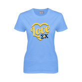 Ladies Sky Blue T-Shirt-Love In Heart