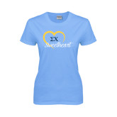 Ladies Sky Blue T-Shirt-Script Sweetheart w/ Heart