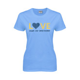 Ladies Sky Blue T-Shirt-Love Sigma Chi Sweetheart Lines