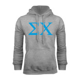 Grey Fleece Hoodie-Sigma Chi Greek Letters