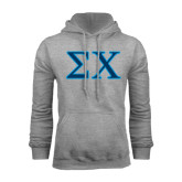 Grey Fleece Hood-Sigma Chi Greek Letters