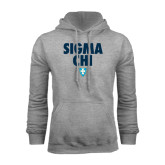 Grey Fleece Hoodie-Stacked Sigma Chi w/ Shield