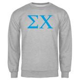 Grey Fleece Crew-Sigma Chi Greek Letters
