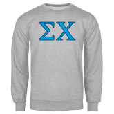 Grey Fleece Crew-Sigma Chi Greek Letters