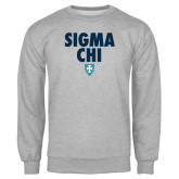 Grey Fleece Crew-Stacked Sigma Chi w/ Shield
